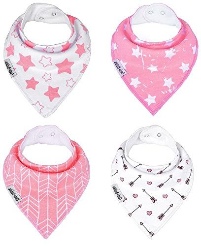 Baby Bandana by Babies Girls 2 Pacifier Clips + Pacifier Case a Gift Pack 4 Excellent Baby Shower / Gift
