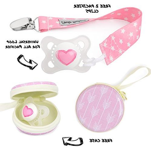 Baby Bandana Babies Girls 2 Clips Pacifier Gift Bag, 4 Quality, Baby / Gift