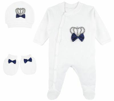 Lilax Baby Boy Crown Jewels Layette 3 Piece Gift Set 0-3 Mon