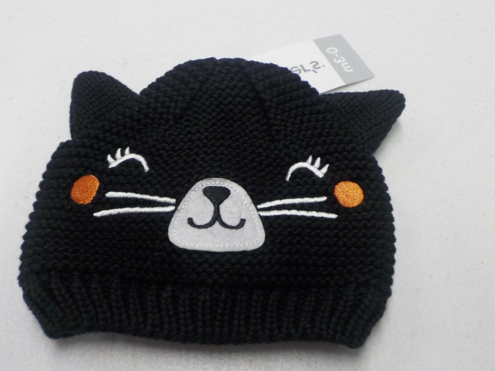 BABY GIRL 0-3 MONTH CARTER'S HALLOWEEN KNIT CAT FACE BEANIE