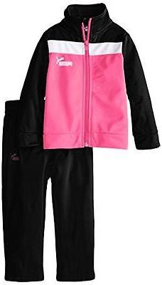 Puma Baby Girl 2-Piece Track Set Suit Black/Pink Zipper 3115