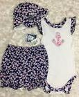 Gerber Baby Girl 3 piece set T Shirt bloomers and hat Size 1