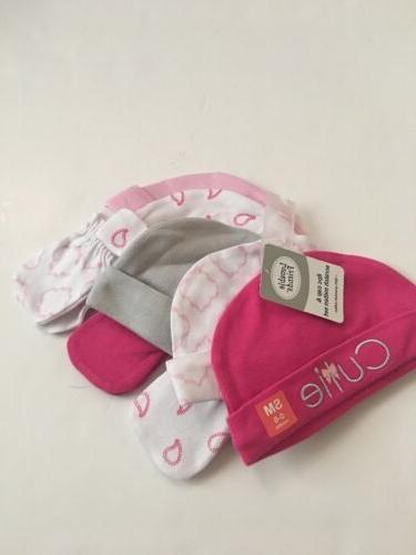 Luvable Friends Baby Girl 5 Hats Caps Beanies & Mittens Set