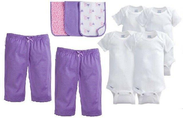 Gerber Baby Girl 9-Piece White Onesies, Purple Pants & Bibs