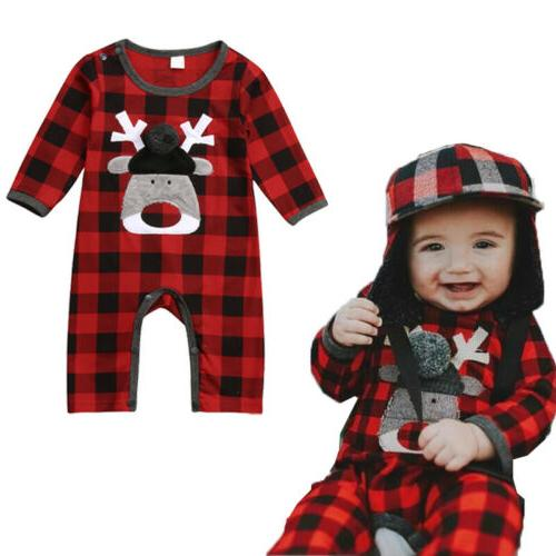 Baby Girl Clothes Deer Romper Plaids