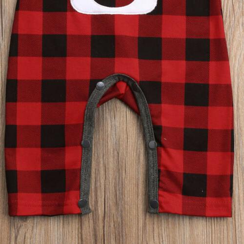 Baby Girl Boy Clothes Deer Jumpsuit Red&Black Plaids One