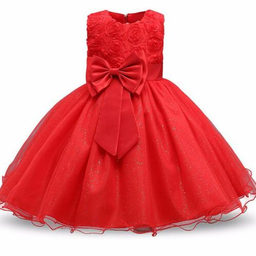 Baby Bridesmaid Dress Flower Kid Party Bow Wedding Dresses