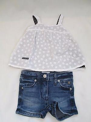 HUDSON BABY GIRL DENIM SHORTS AND WHITE FLORAL TANK SET SIZE
