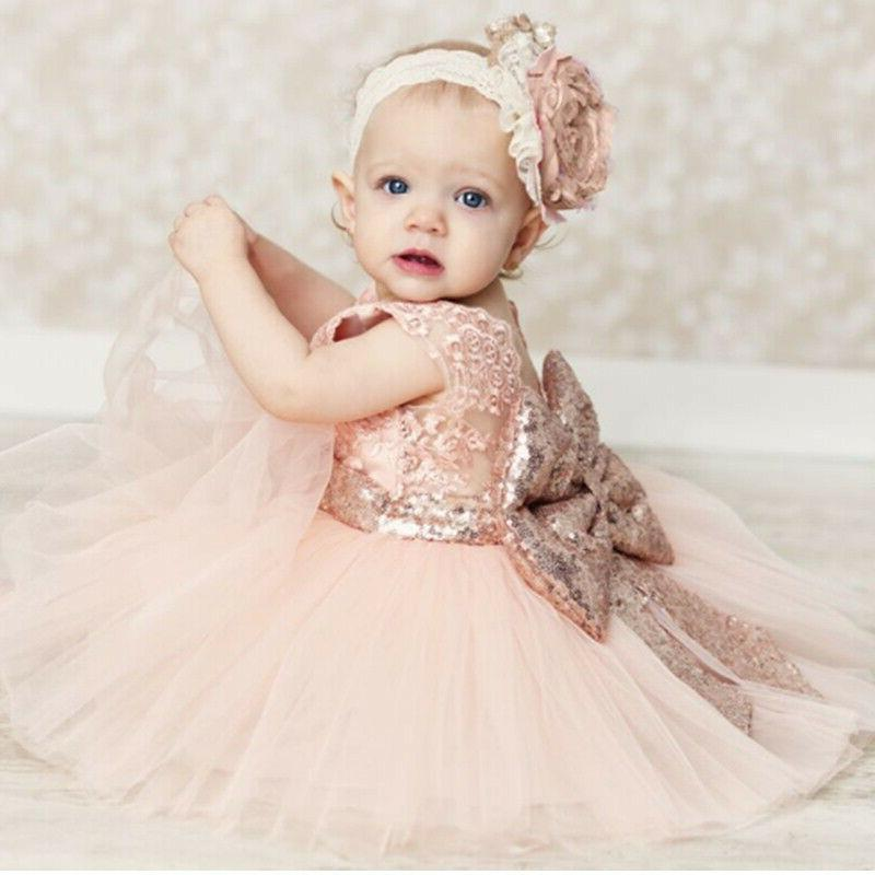 Baby Dress Lace Bow Birthday Wedding Gown Party Dress