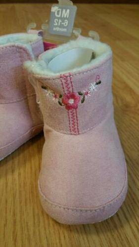 Luvable Friends Embroidered Suede 6-12m