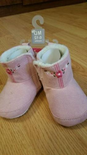 baby girl embroidered suede boots 6 12m