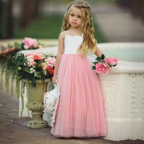 USA Princess Girls Dress Flower Lace Party Dresses