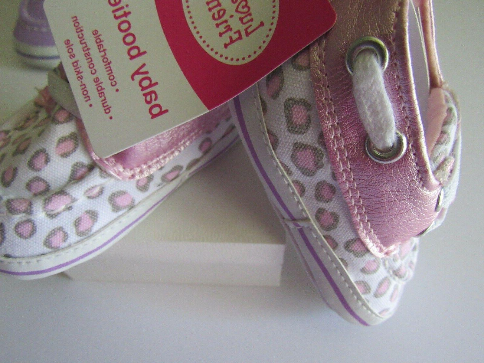 Luvable Friends Slip-On Baby Pink Leopard Print