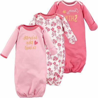 Luvable Friends Baby Girls' Cotton Gowns, 3 Pack. 100% Cotto