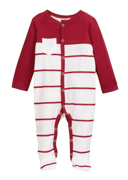 baby girls footie red white lace pocket
