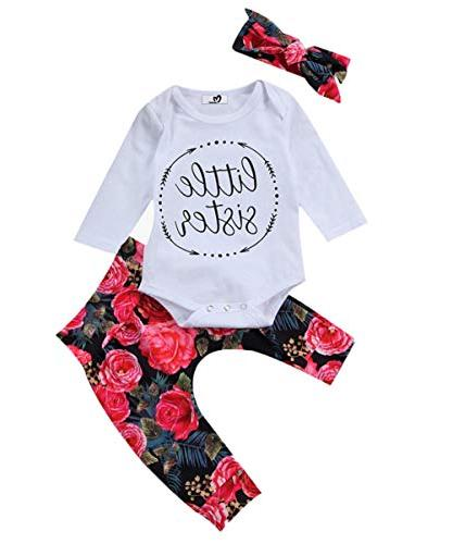 baby girls little sister bodysuit tops floral