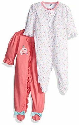 Gerber Baby Girls' 2 Pack Zip Front Sleep 'n Play,Birdie,3-6