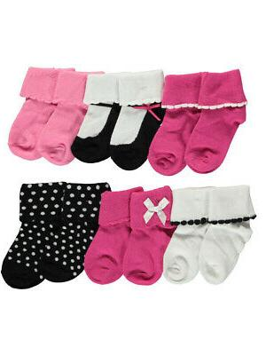 """Luvable Friends Baby Girls' """"Scalloped Cuffs"""" 6-Pack Socks"""