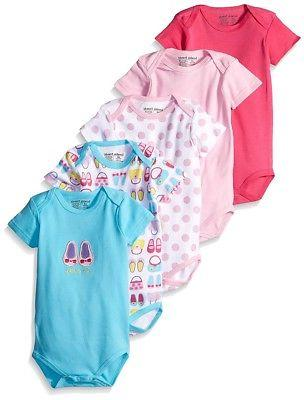 Luvable Friends Baby Girls Shoes & Purses 5-Pack Bodysuits P