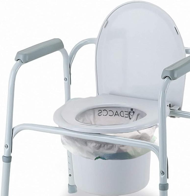 Bedside Commode with Absorbent Pack for Elderly, Sick