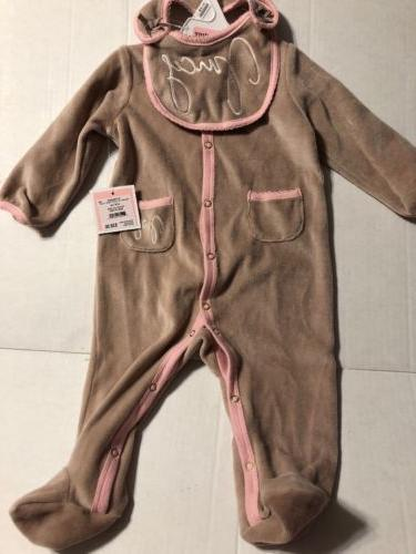Juicy Couture Bege Pink Baby Girl Coverall One Piece Ruffle