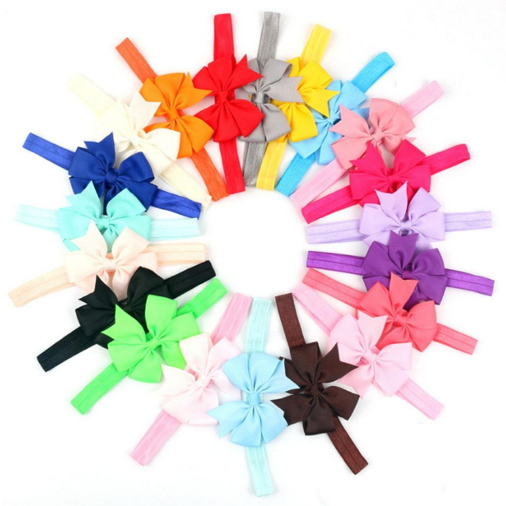 20Pcs Colors Newborn Baby Girl Headband Infant Toddler Bow H