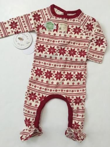 Burts Bees Baby Girl Coverall Family Pajamas Size 3 6 9 Months Red Snowflake