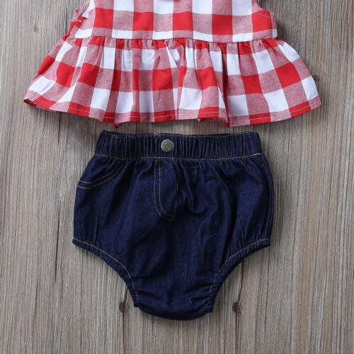 Canis Baby Girl Clothes 3Pcs Set Dress Tops+Denim