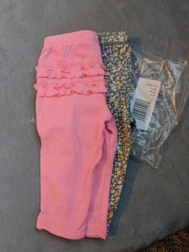 Carter's Baby Girl 3 Months 2 Pair Of Pants Pink And Floral