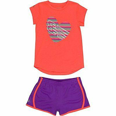 New Balance Childrens Apparel Baby Girls Athletic Tee and Sh