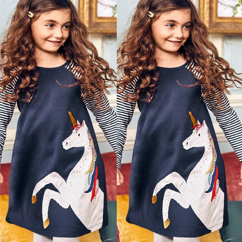 Cotton Kids Dress Striped Sleeve Tops Clothes