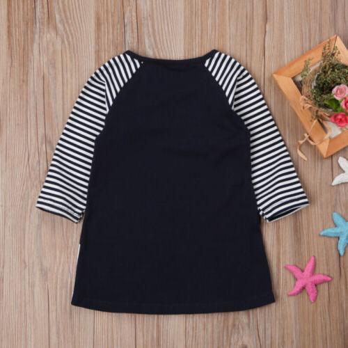 Cotton Baby Dress Unicorn Striped Long Sleeve Dresses Tops Clothes US