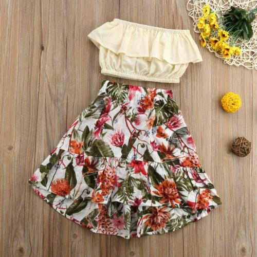 Cute 2 Pcs Ruffled Wrapped Chest Floral Skirt Baby Girl Summ