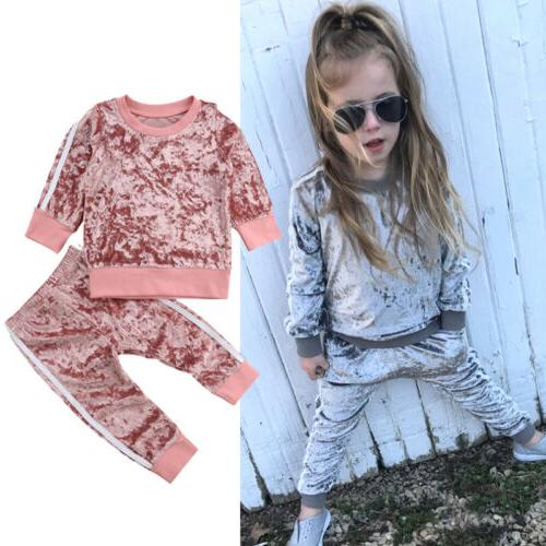Autumn Kids Baby Girl Velvet Pants Outfits US