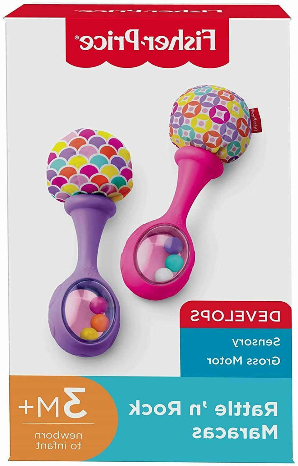 Fisher-Price Rattle Maracas, Pink/Purple