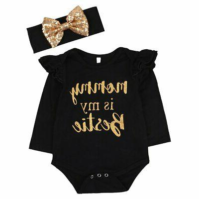 "Newborn Baby Girls Clothes Floral ""Mommy is My Bestie"" B"