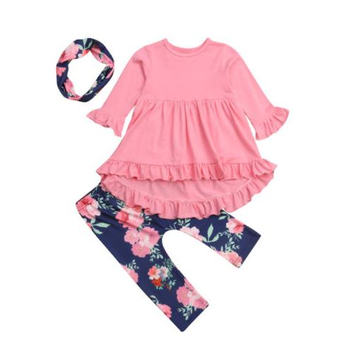 Floral Toddler Kids Girl Cotton Top Pants Leggings Outfits US