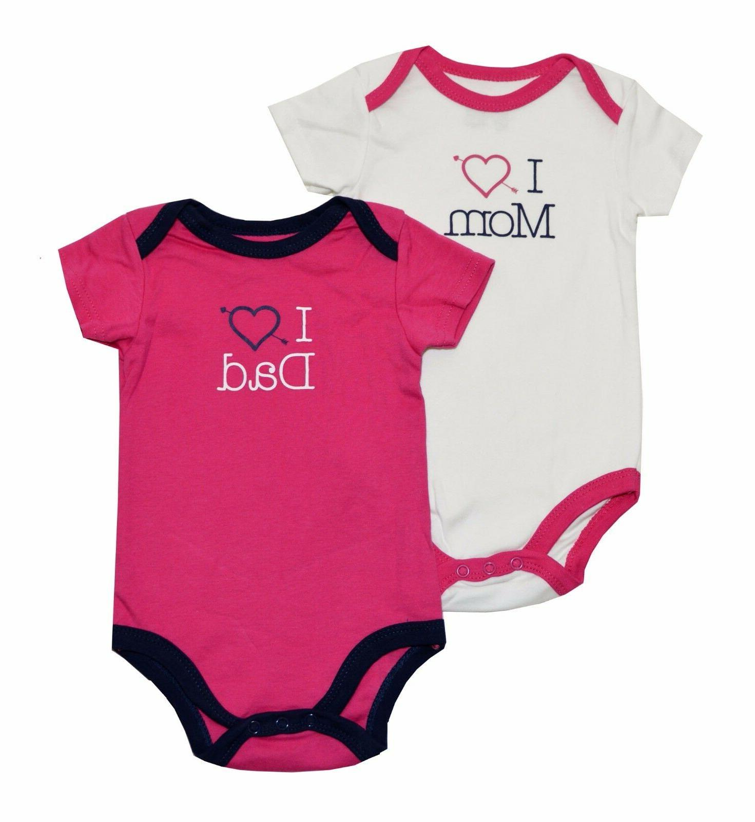 "Luvable Friends Baby Girls 2-Pack ""I Love"" Bodysuits"