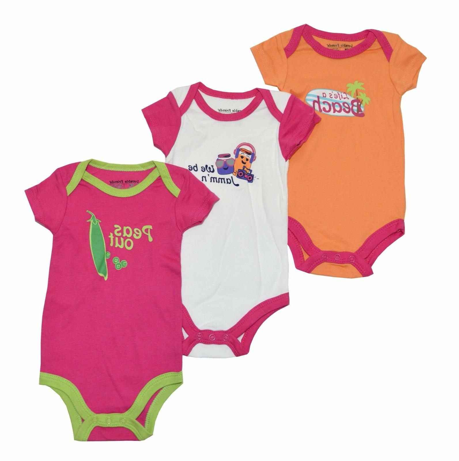 Luvable Friends Baby Girls 3-Pack Bodysuits