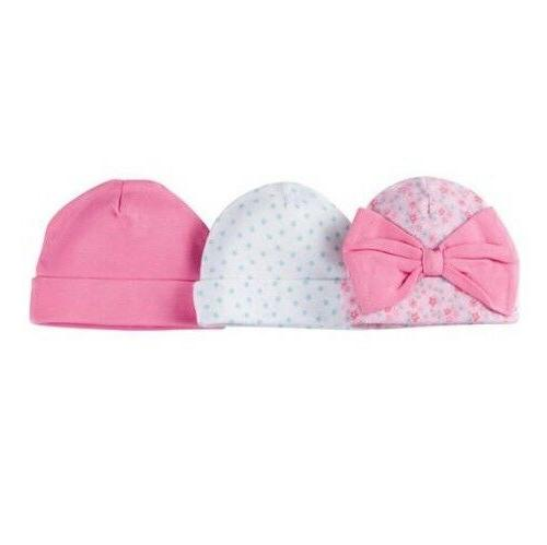 Gerber Baby Girl 3-Pack Caps/Hats Pink Flowers/Dots Size 0-6