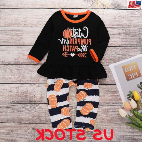 Halloween 2pcs Toddler Newborn Baby Girl T-shirt Dress Tops