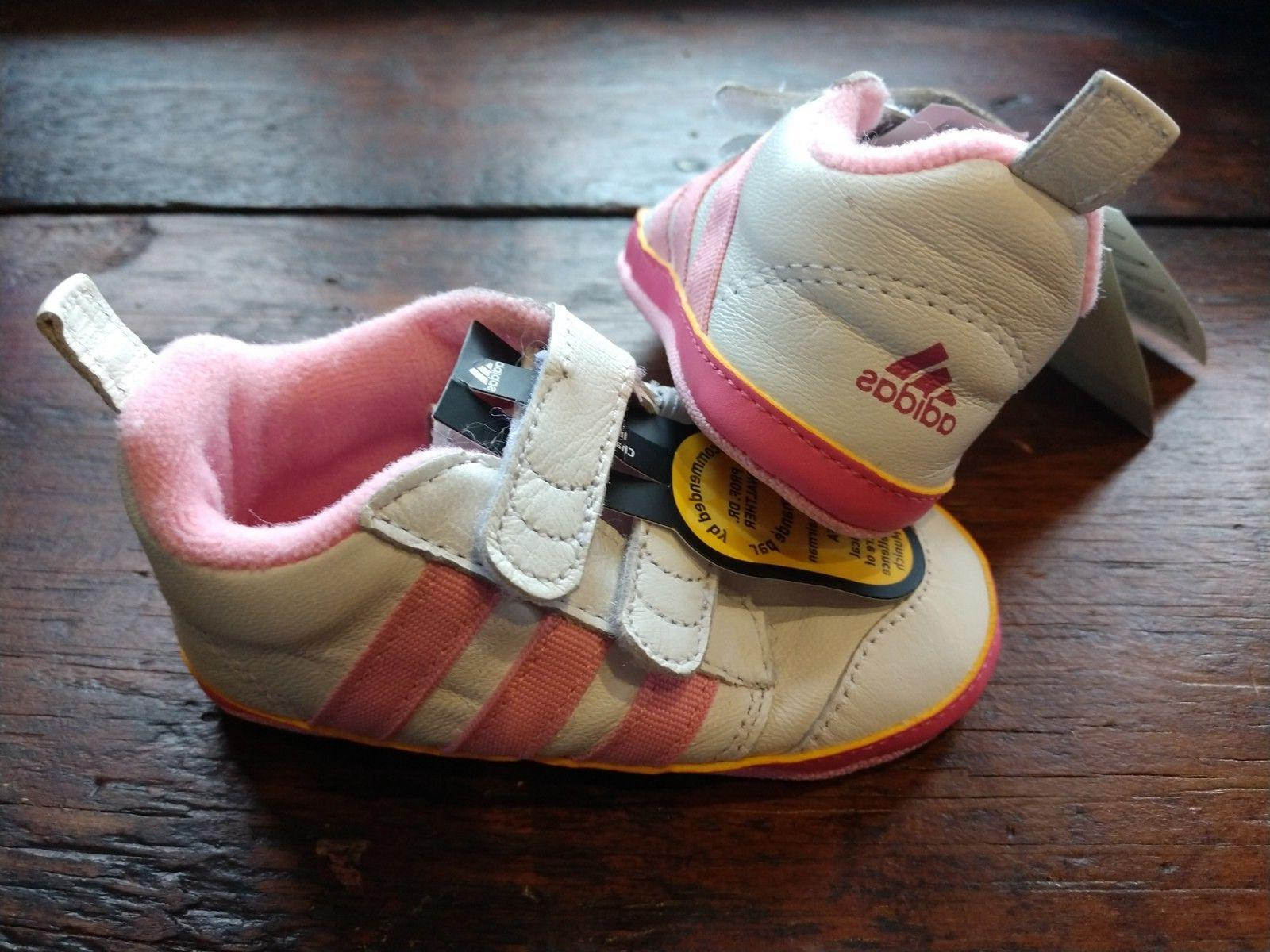 Adidas Infant Baby Crib Sneaker Shoe White and Pink Girls SZ