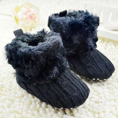 New Infant Girl Cotton Knitted Fleece Boots Warm Soft Crib