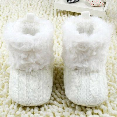 Infant Baby Winter Cotton Knit Fleece Boots Warm Fur Soft Crib Shoes