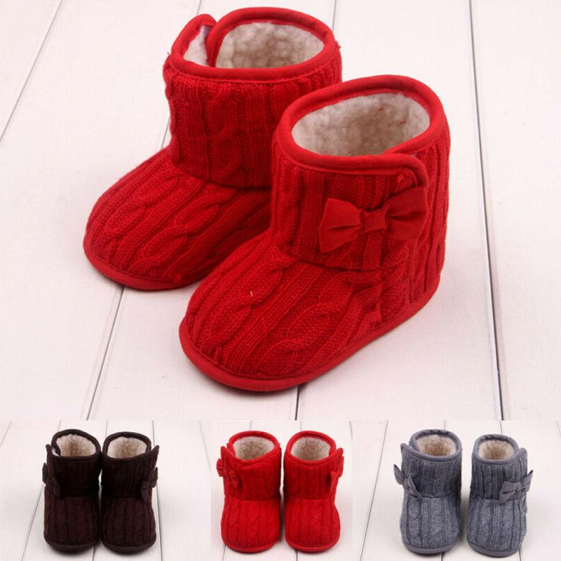 Infant Baby Cotton Knit Snow Boots Fur Crib