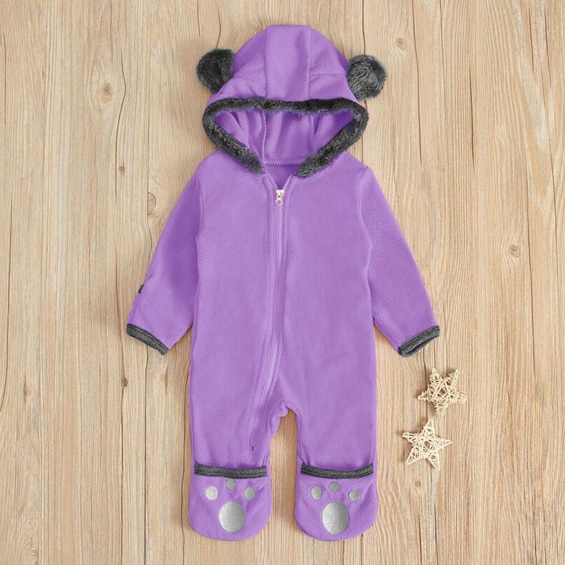 Infant Baby Kid Boy Solid Hoodie Romper Jumpsuit