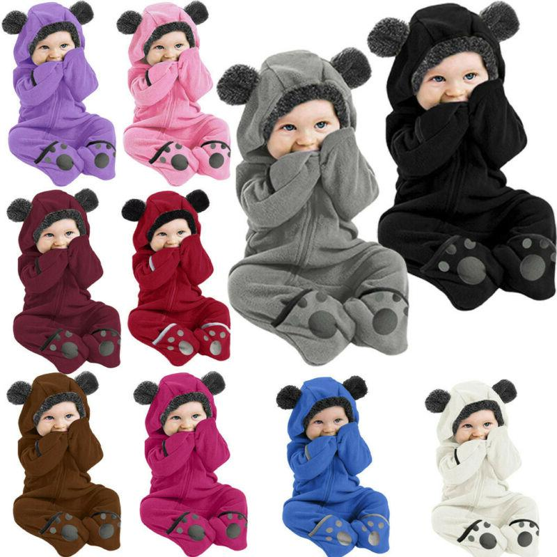 Infant Baby Kid Boy Solid Ear Hoodie Romper Jumpsuit