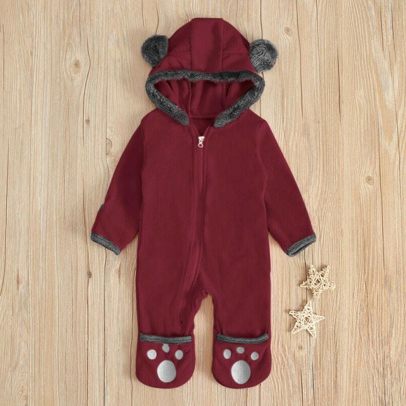 Infant Baby Kid Boy Hoodie Fleece Jumpsuit