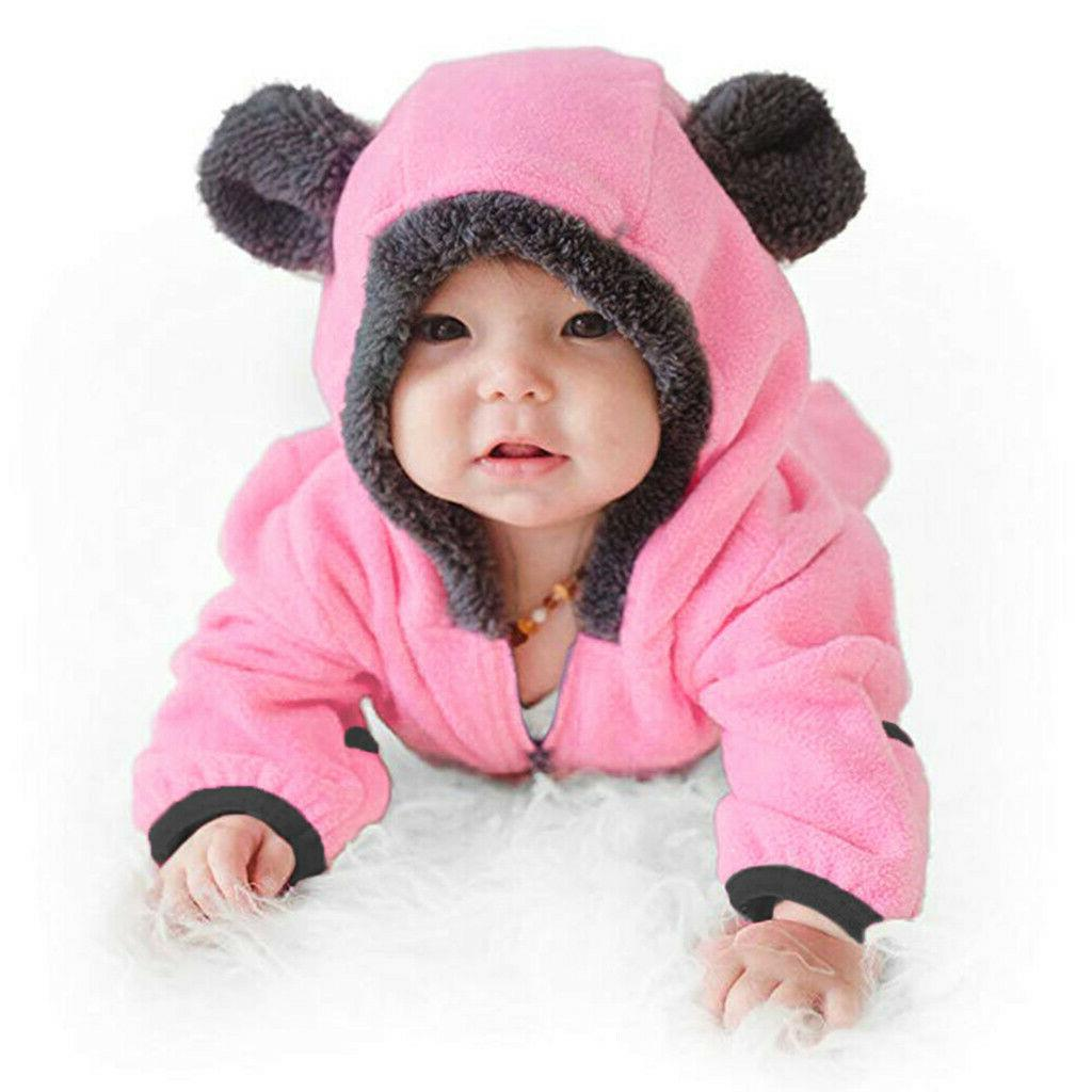 Infant Boy Solid Hoodie Romper Fleece Jumpsuit