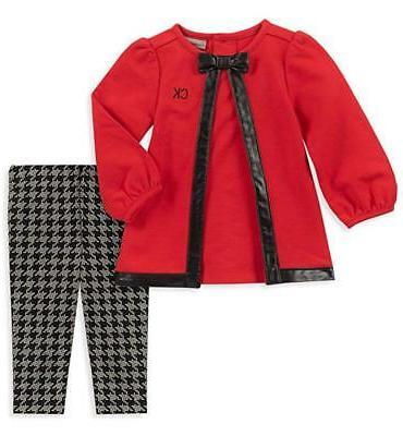 infant girls red tunic 2pc legging set